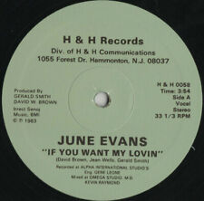 "JUNE EVANS "" IF YOU WANT MY LOVIN' "" NEW 12 DANCE DISCO SOUL FUNK BOOGIE"