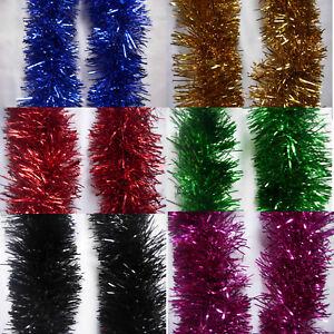 2M (6.5Ft)  Chunky Tinsel Christmas Tree Decoration X'mas Garland 20 Colour