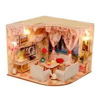 1/24 DIY Wood Dollhouse Miniature Romance House Kit LED Light Furniture Set