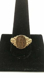 10K Yellow Gold Initial Signet Ring size 10.5 - 5.1g