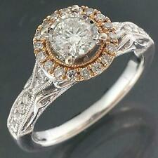 Showy Solid 14k White & Rose GOLD 33 DIAMOND ENGAGEMENT Val=$2925 RING Sz N