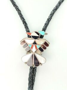 Vintage FK Zuni Mosaic Turquoise Coral MOP Thunderbird Sterling Silver Bolo Tie