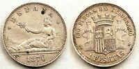 Spain-Gobierno provisional. 2 pesetas 1870*18-74. Madrid. MBC+/VF+. Plata 10 g.