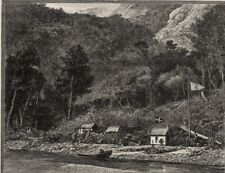 """""""The City,"""" Milford Sound. The West Coast Sounds. New Zealand 1890 old print"""