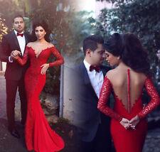 Rote Spitze Langarm Chiffon Brautkleider Hochzeitskleid Ballkleid Abendkleider
