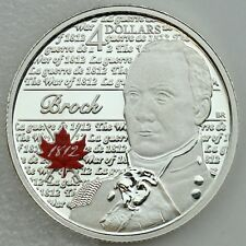 Canada 2012 $4 Sir Isaac Brock Hero of War of 1812 99.99% Pure Silver Proof Coin