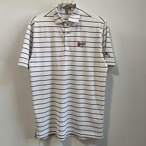 Peter Millar Summer Comfort Ketel One Vodka Logo Golf Polo Shirt Stripe White M