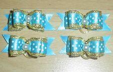Pretty Turquiose Blu Polka mostra tipo Toelettatura Fiocchi Acrilico Centro Perla