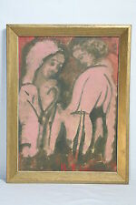 ABSTRACT SURREAL MODERNISM SURREALISM CUBISM ALL DESCRIBE PAIR 1951 PAINTINGS