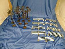 Vintage village pieces 11 electric poles 9 metal fences RR set up country scene