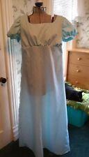 Regency Era~ Jane Austen Blue Calico Gown 38~not lined