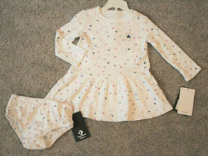 Converse All Star Baby Girl White Moon Stars Dress Set Size 18 Months 18M NWT