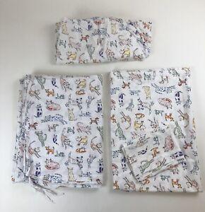 4pc TWIN Bed Set Garnet Hill Dogs & Cats Cotton Duvet Cover, Sheets, Pillowcase