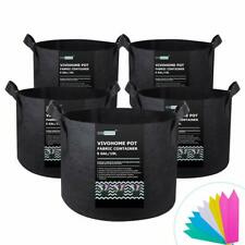 VIVOHOME 5pcs 5 Gallon Fabric Breathable Plant Pots Grow Bags Root Container NEW