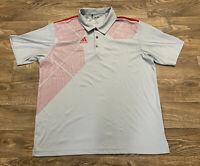 Adidas Climacool Men's Medium Gray/Red Golf Polo Shirt