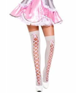 Ribbon Lace Up Thigh High Stockings - Music Legs 4651