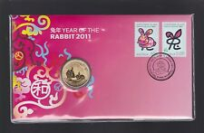 2011 Australia $1 Lunar Year of Rabbit Coin Stamp Set PNC FDC