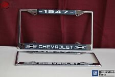 1947 Chevy Chevrolet GM Licensed Front Rear Chrome License Plate Holder Frames