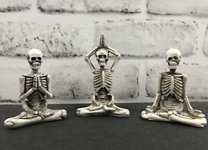 """New Set of 3 Skeleton Figures Practicing Yoga Tiered Tray Halloween Décor 3"""""""