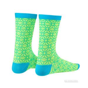 Supacaz SupaSox ASANOHA Tall Cycling Socks NEON YELLOW/NEON BLUE One Pair