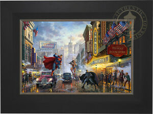 Thomas Kinkade DC BATMAN, SUPERMAN AND WONDER WOMAN 18 x 27 LE G/P Canvas Framed