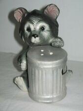 Black Bear Investigating A Rubbish Bin Pepper Salt Shaker Ceramic Circa 1960's