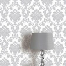 Arthouse Romeo Grey Damask Metallic Silver Mica Background Wallpaper 693503