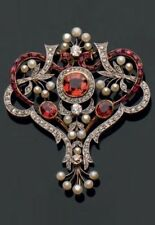 4.50ct Rose Cut Diamond Ruby Antique Victorian Look Silver Brooch Pin