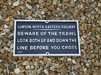 Large Cast Iron London, North Eastern Railway Metal Plaque - Iron Sign / Train
