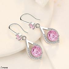 925 Sterling Silver Pink Dress Diamond Cut Dangle Teardrop Stud Drop Earrings