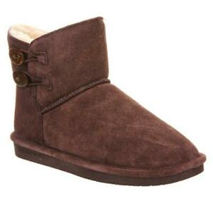 BEARPAW Women's Rosy Suede Sheepskin Button Boots with NeverWet Size 11W Fig