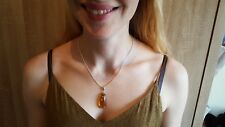 Cretaceous Burmite Amber Silver Pendant Necklace Jewelry with Insect Inclusions!