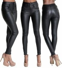 WOMEN LEATHER LOOK LEGGINGS BLACK WET TROUSERS SEXY JEANS SIZE 6 8 10 12 14