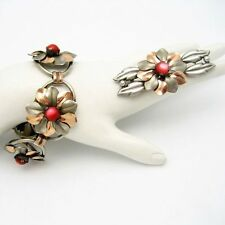 KREISLER Rare Vintage Retro Bracelet Brooch Pin Mixed Metals Red Satin Glass