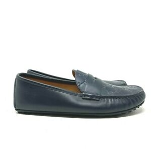 Gucci Leather Signature Driver Loafers Blue Mens Size 7 Slip On Shoe Authentic