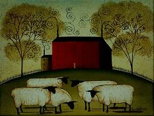 RED HOUSE WITH SHEEP,COUNTRY,FOLK ART UNFRAMED 12X16 PRINT BY MARY BETH BAXTER
