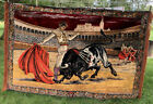 VTG 6' SPANISH BULL FIGHTING MATADOR TAPESTRY/RUG-WALL HANGING HUGE 4x6 Feet