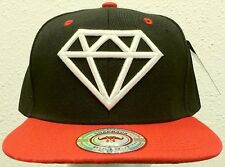 NEW DELUXE EMBROIDERED DIAMOND ROCK TWO-TONE BLACK RED CAP HAT SNAPBACK SWAG