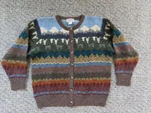 1980s vintage ORVIS shetland wool FAIR ISLE cardigan sweater L norway NORDIC