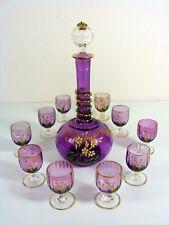 Service Liqueur Cristal Emaillé Baccarat Violet Décor Fleurs, 11 pcs., numéroté