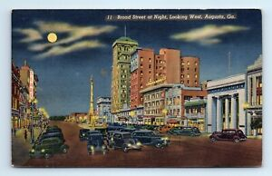 AUGUSTA, GA Postcard - BROAD STREET at NIGHT looking West - LINEN