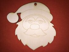 10 x large SANTA HEAD FATHER CHRISTMAS UNPAINTED CRAFT BLANK WOODEN HANGING TAG
