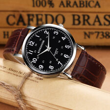 Top Quality Simple Watch for Men Black White Business Leather Quartz Watch