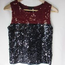 J.CREW Collection Sequin Sleeveless Tank Top Red Navy Black Women's Size XXS