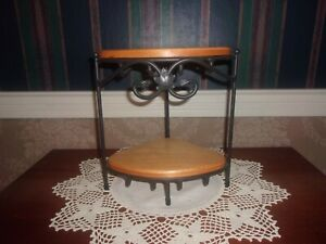 Longaberger Wrought Iron Small Corner Stand with Custom Shelves