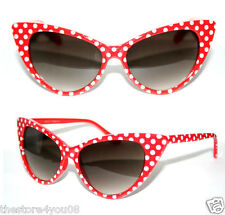 Women's Cat Eye 50's Vintage Sunglasses Polka Dots red white Rockabilly Pinup