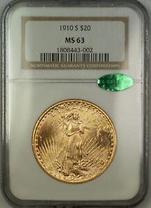 1910-S $20 St. Saint Gaudens Double Eagle Gold Coin NGC CAC MS-63 Choice BU