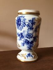 Pot à Pharmacie / urne / vase Porcelaine de LIMOGES ancien Fleurs bleu de four