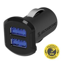 SCOSCHE USBC242M 12 Watt 2 Port Dual USB Car Charger For iPhone 4 4s