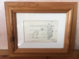 E.H. SHEPARD SIGNED WINNIE THE POOH FRAMED PENCIL DRAWINGS.